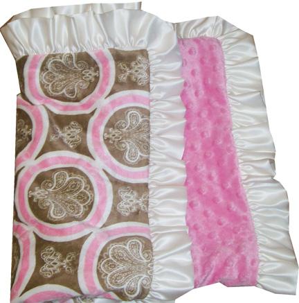 Pink Medillions Ruffled Blanket
