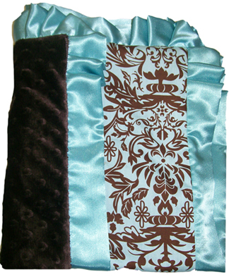 Damask Aqua Cotton & Brown Minky Dots Ruffled Blanket
