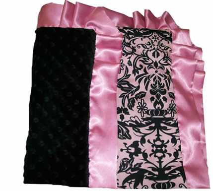 Damask Pink Cotton  & Black Minky dots back with Ruffled Blanket