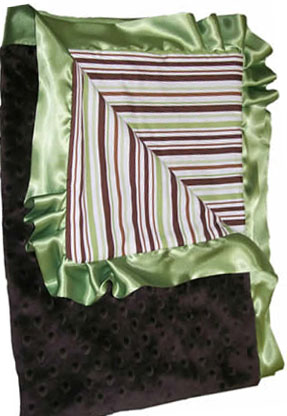 Brown Stripe Cotton Ruffled Blanket