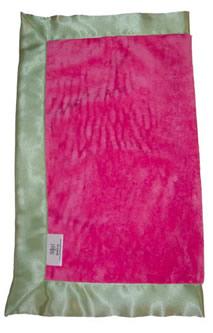 Raspberry Minkee & Sage Travel Silk Blanket