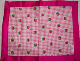 Rose Plaid  & Raspberry Satin Travel Blanket