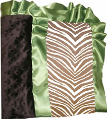 Brown Zebra Cotton & Minky Silky Ruffled Blanket