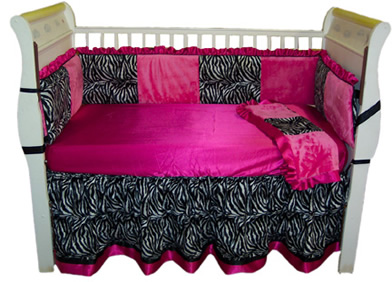Zebra & Hot Pink Crib Bedding set