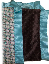 Harlequin Aqua cotton & Chocolate Minky Ruffled Blanket