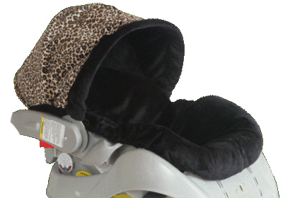 Custom Minky Dots & Animal Print Hood Infant Car Seat Cover