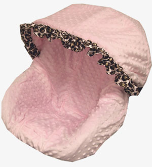 Baby Pink Minky With Print Satin Ruffle Ruffle Infant Car Seat Cover